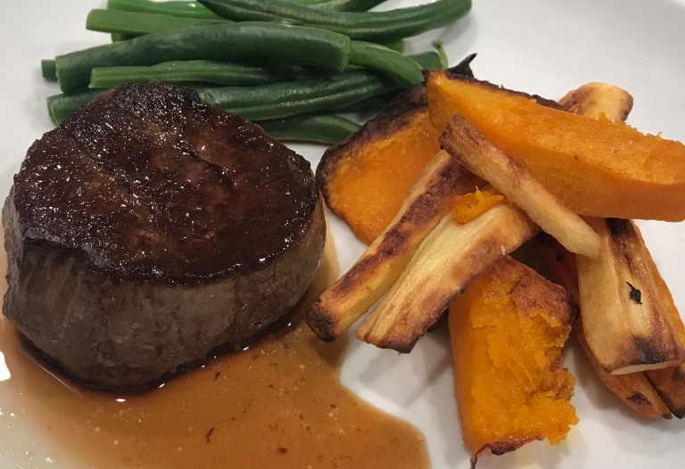 Lean Fillet Steak with Parsnip & Kumara Chips